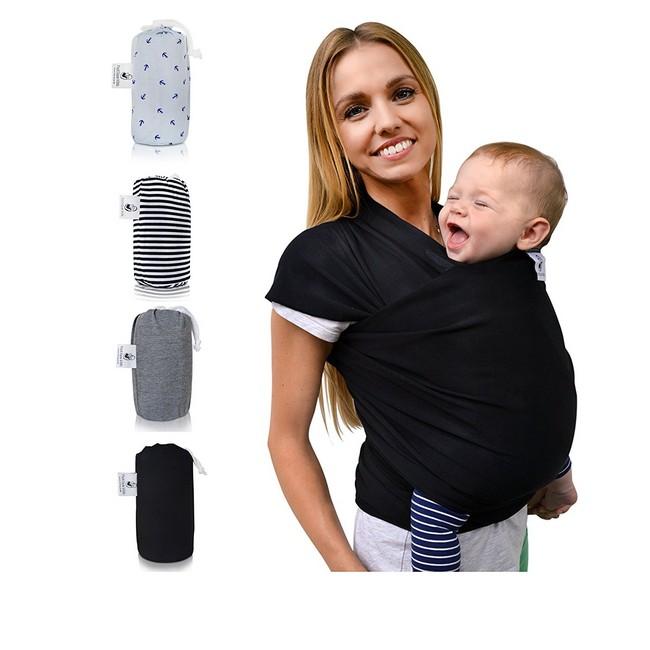 Babytragetuch - Fastique Kids Modernes und elastisches Tragetuch für Frühgeborene und Neugeborene Kleinkinder schwarz