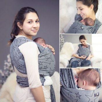 HOPPEDIZ elastisches Tragetuch für Früh- und Neugeborene, inkl. Trageanleitung - Mutter und Kind