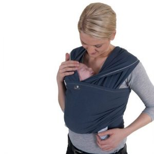 HOPPEDIZ elastisches Tragetuch für Früh- und Neugeborene, inkl. Trageanleitung - blau